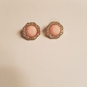 Adorable Octagon Shaped Light Pink and CZ Earrings